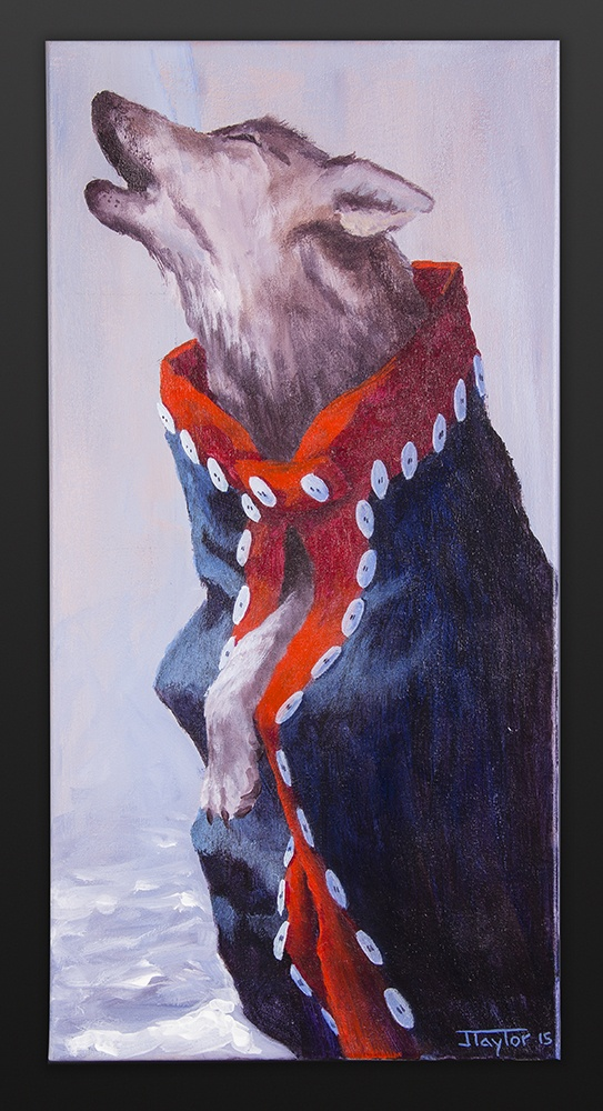 Calling for a Crow Jean Taylor Tlingit Acrylic on canvas 12 x 24 800 northwest coast wolf button blanket