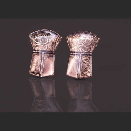 "Two copper earrings Alison Bremner Tlingit 1""L X ¾""W copper potlatch"