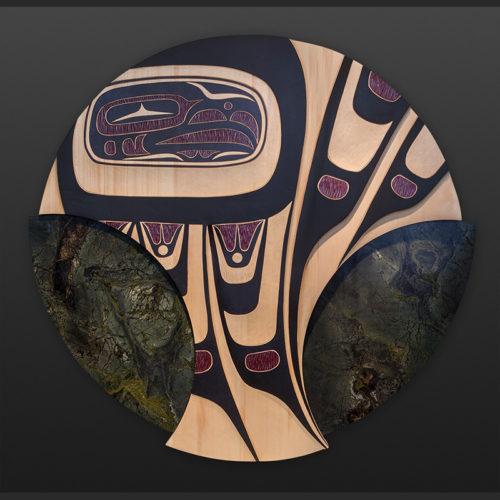 Ch'aak' tláa Eagle Mother James Madison Tlingit/Salish eagle Yellow cedar granite 33 dia. 6200