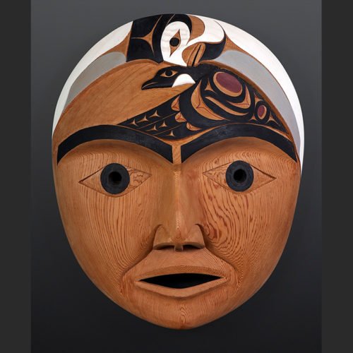 "Tim Paul Hesquiaht Cu-iich (Winter Moon) Red cedar, paint 17"" x 19"" x 7"" 5500"