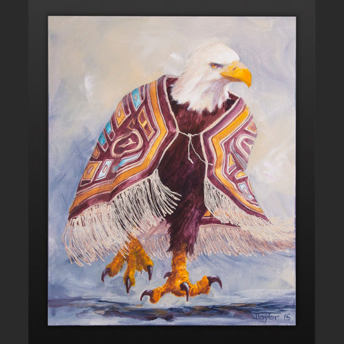 Fierce Dancer Jean Taylor Tlingit Acrylic on canvas 16 x 20 $800 eagle chilkat northwest coast