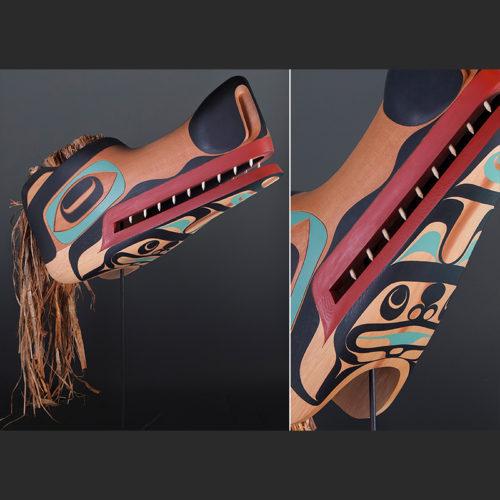 Quayatseek Moy Sutherland Tla-o-qui-aht $10000 Red cedar cedar bark paint 25 x 13 x 9