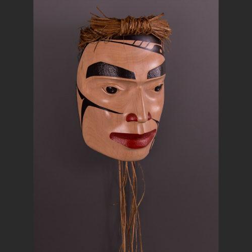 "Warrior of Temlahamid Portrait Mask Arlene Ness - Gitxsan Alder, acyrlic, cedar bark 9"" x 6 3/4"" x 4"""