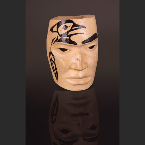 "Wii Simogyet - Big Chief Portrait Mask Maquette Arlene Ness - Gitxsan Yellow cedar, paint 4"" x 3"" x 2"""