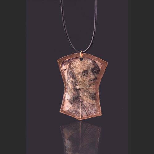 "Ben copper pendant Alison Bremner Tlingit Copper Pedant 2 3/4"" x 1 1/2"""
