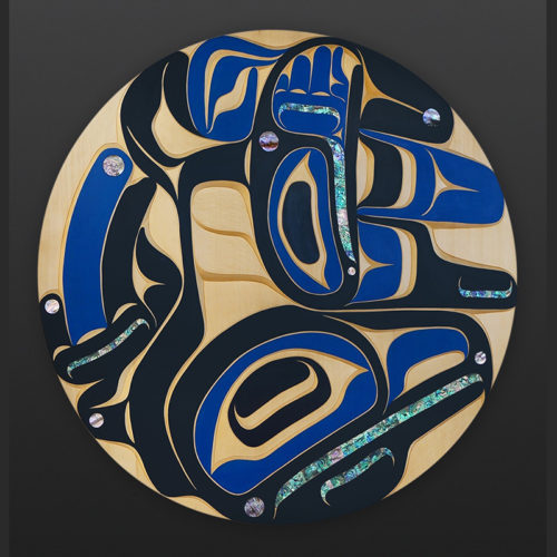 Blue Raven Moy Sutherland Nuu Chah Nulth Yellow cedar paint abalone 36 dia. 9500