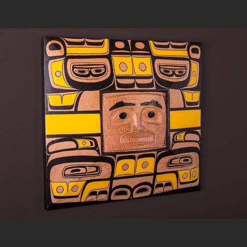 """Chilkat Dancer Arlene Ness – Gitxsan Red cedar, paint 20"""" x 18"""" x 3"""" $5000"""