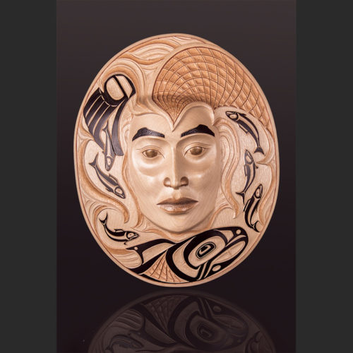"copper woman moon Arlene ness ness arlene copper woman moon mask Silver birch, paint, copper thread 16"" x 12"" x 4"""
