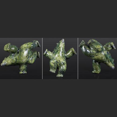 """diving and dancing bear Isaaci Petaulassie Inuit dancing diving bear Serpentine 7"""" x 7"""" x 3"""" $900"""