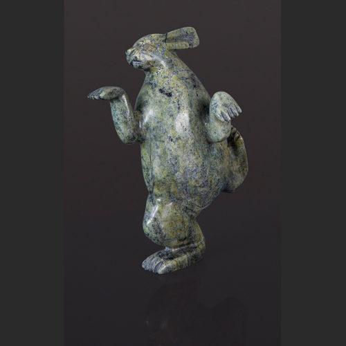 dancing rabbit Pitseolak Qimirpiq Inuit Cape Dorset Serpentine rabbit $750