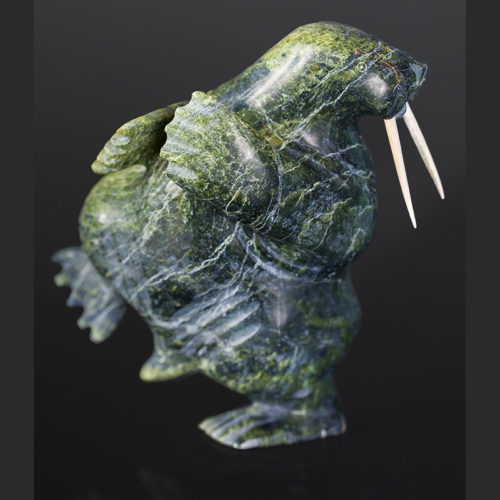 "dancing walrus Kellipilak Qimirpik Inuit dancing walrus Serpentine, antler 9"" x 8' x 6"" $1050"
