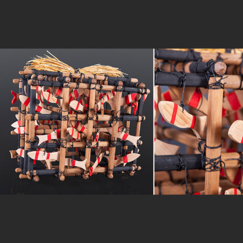 "Gerren Peters Nuu Chah Nulth Salmon Weir Rattle Red cedar, cedar bark, rope, paint 15"" x 13"" x 11"" 1900"