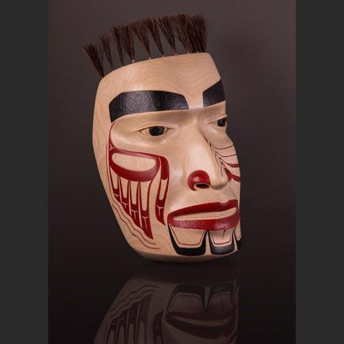 "Chief's Portrait Mask Arlene Ness - Gitxsan Birch, acrylic, horsehair, copper wire 11"" x 6 1/2"" x 4 1/2"" mask heat sun"