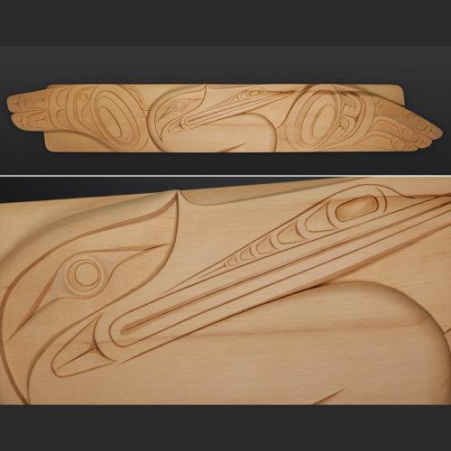 "heron panel Erich Glendale Kwakwaka'wakw Yellow cedar 60"" x 10"" northwest coast art"