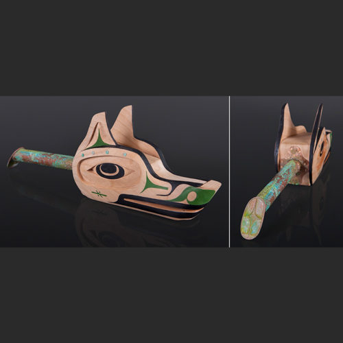 "kwayaatsiik kuuxmin Wolf Rattle Steam-bent Wolf Rattle Gordon Dick Tseshaht $5000 Alder, copper, beads 12"" x 5"" x 3"""