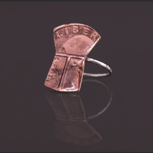 Liberty copper ring Alison Bremner Tlingit Copper, silver Size 6 3/4 quarter