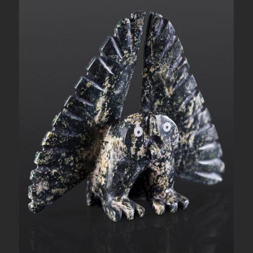 "little owl Palaya Qiatsuk Inuit Serpentine 7"" x 6"" x 2"" $650"