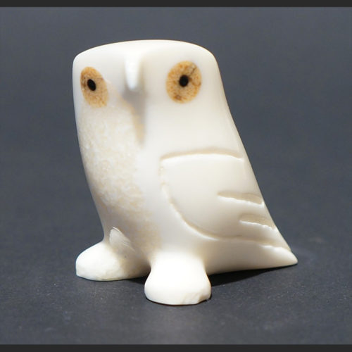 "little owl Robert Tungiyan Yupik Walrus Ivory & Baleen 1"" x 1.5"" x 1.5""H Sold"