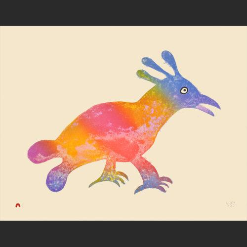 LUMINOUS BIRD Cape Dorset Print Collection 2015 MALAIJA POOTOOGOOK Medium: Lithograph Paper: Arches Cream Printer: Niveaksie Quvianaqtuliaq Size: 20 x 25 ½ inches (51 x 64.7 cm) Price: $700