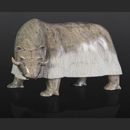 "Noah Jaw Inuit musk ox Serpentine 14"" x 8"" x 8"" $3500"