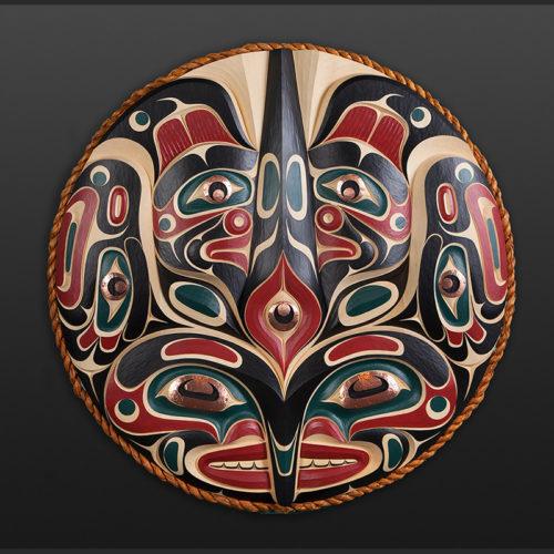 "the killer whale Jr Henderson Kwakwaka'wakw killer whale Yellow cedar, copper, cedar rope, paint 37"" dia. $8000"