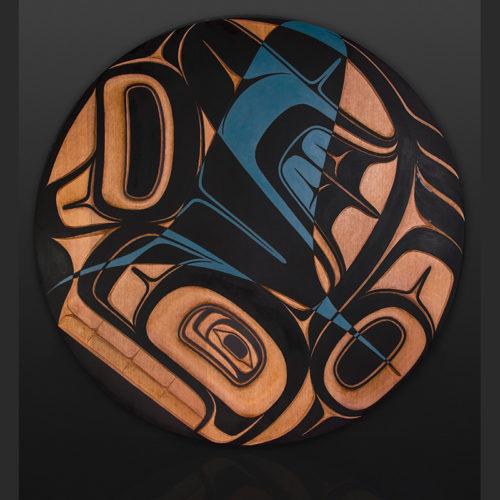 "orca panel Ernest Swanson Haida Red cedar, paint 31"" dia. Sold"