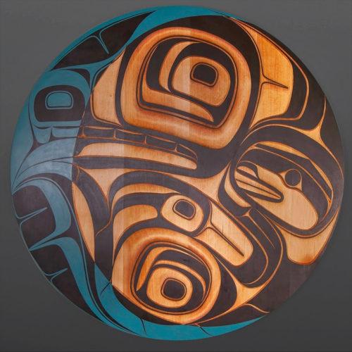"Wolf crescent moon panel Phil Gray Tsimshian Red cedar, paint 36"" dia. northwest coast moon native art"