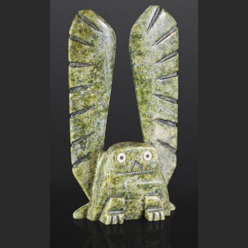 """Mickey Qiatsuk Inuit owl Serpentine 11"""" x 6"""" x 2"""" $700"""