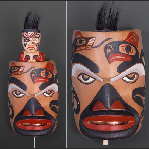 "Preparing for the Hunt George David Tla-o-qui-aht $3200 Red cedar, alder, horsehair, copper, paint 14"" x 7"" x 5"""