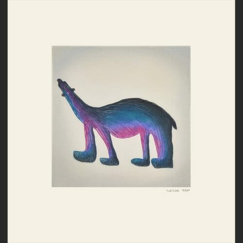 "Saimaiyu Akesuk Purple Bear Cape Dorset Print Collection 2015 Etching & Aquatint 17 3/4"" x 16"" $525"