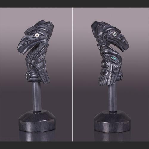 "raven chiefs Sacred Pipe 9 ¾"" x 3 ½"" x 4"" with abalone, ivory lionel samuels argillite lionel samuels raven pipe haida native art"
