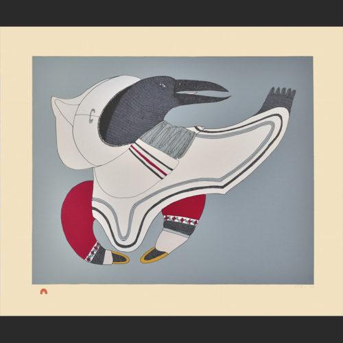 Title: Raven's Regalia Medium: Lithograph Paper: Arches Cream Printer: Niveaksie Quvianaqtuliaq Size: 19 1/4 x 22 3/4 Inches (48.9 x 57.5 cm) Cape Dorset Print Collection 2015 Price: $700 U.S.