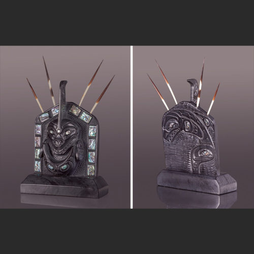 """skaana the hunter Orca Chief's Frontlet 13"""" x 8"""" x 2 ½"""" with abalone, quills orca whale lionel lionel samuels argillite samuels abalone frontlet skaana"""