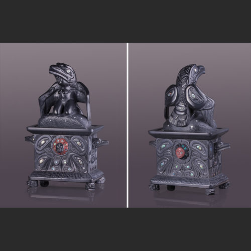 """the box of daylight Raven and His Human Mother with catlinite, abalone 13"""" x 9"""" x 5"""" haida raven woman daylight box lionel samuels lionel samuels argillite"""