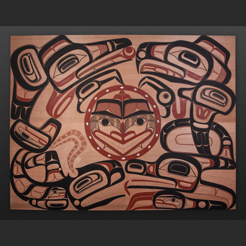 "David Boxley Tsimshian four clans whale eagle raven wolf Red cedar, paint, opercula 60"" x 47"" $10000"