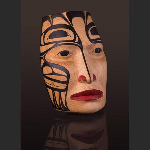"the journey Portrait Mask Arlene Ness - Gitxsan Red cedar, paint 10"" x 6 1/2"" x 4"""