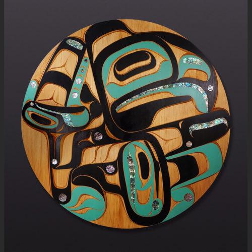 "'tiits-kin (Thunderbird) Moy Sutherland Tla-o-qui-aht thunderbird Red cedar, abalone, paint 36"" x 36"" x 2"" $8500"