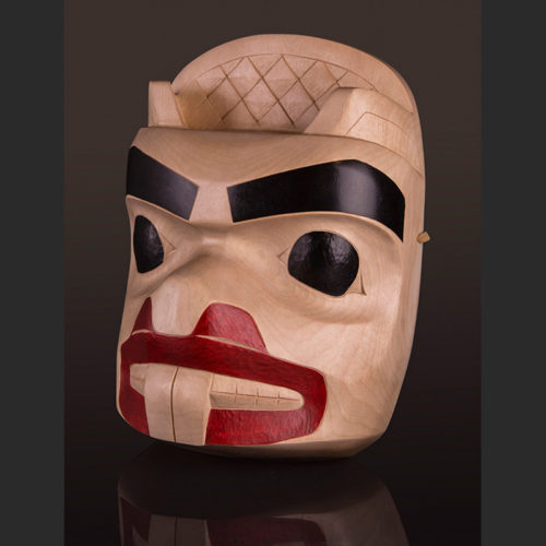 "Totem Reflection Beaver Mask Arlene Ness - Gitxsan Birch, paint 17"" x 13"" x 8 1/2"""