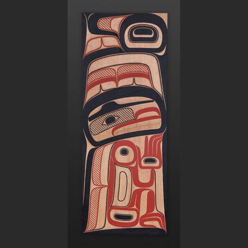"transformation David A Boxley Tsimshian Red cedar, paint 18"" x 6"""