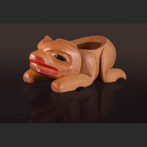 """Young Beaver Sculptured Bowl Arlene Ness – Gitxsan 10"""" x 5 ½"""" x 4 /2"""" Birch, paint"""