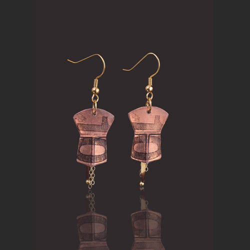 "Ten copper earrings Alison Bremner Tlingit Copper Earrings with porcupine quills 1 ½""L X ¾""W"