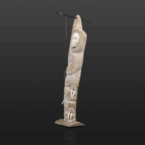 "Walrus Hunter Rick Kuzguk Inupiaq Bone, ivory, baleen 16"" x 8"" x 3"" $1000"