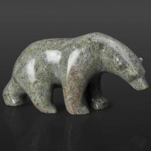 "Bear Follows the Trail (13966) Tony Ohotaq Inuit Serpentine 9"" x 3"" x 4"" $750 polar bear cape dorset arctic sculpture"