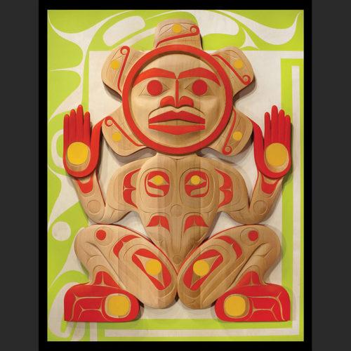 "To Transcend : Sun Ancestor Rande Cook Kwakwaka'wakw red cedar, acrylic paint 54""H x 42""W x 2.5""D"