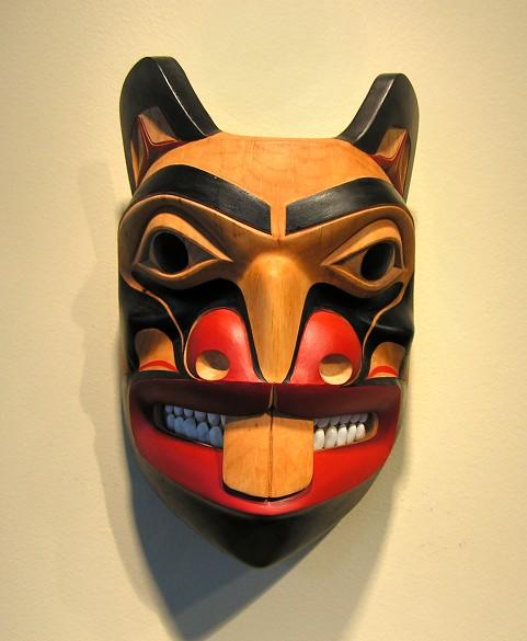 "Beaver Mask Norman Jackson Tlingit alder and operculum 9.5"" x 6.25"" x 3.5"""