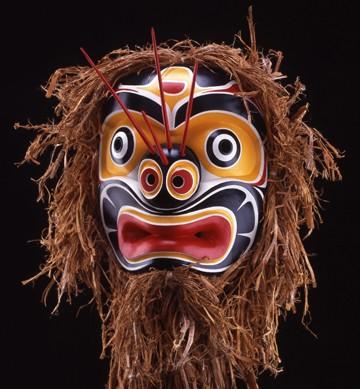 """Bumblebee mask Eugene Isaac Kwagiulth Cedar 12"""" x 14"""" x 12"""""""