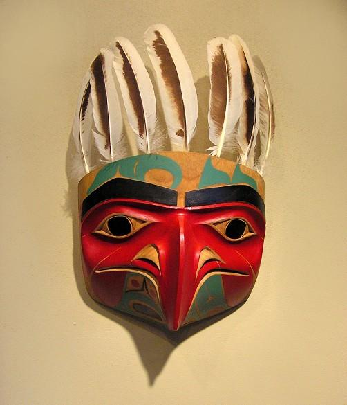 """Eagle Mask Norman Jackson Tlingit Alder 13"""" x 8"""" x 5"""""""