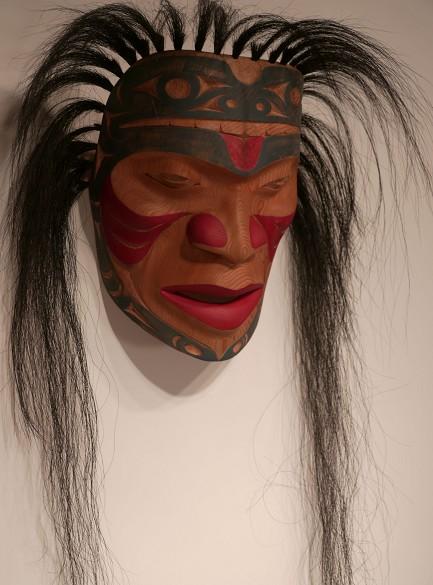 "Frog Prince Mask Darren Joseph Coast Salish red cedar, horsehair, acrylic paint 10W x 8D x 34L"""