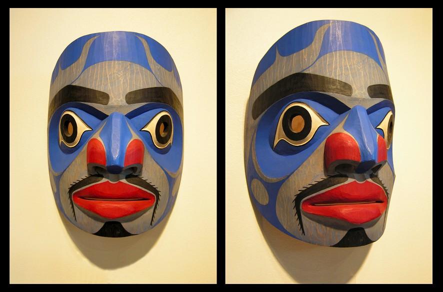 """Portrait Mask Ian Reid Heiltsuk Cedar, Acrylic Paint 16.5 x 13 x 6"""""""