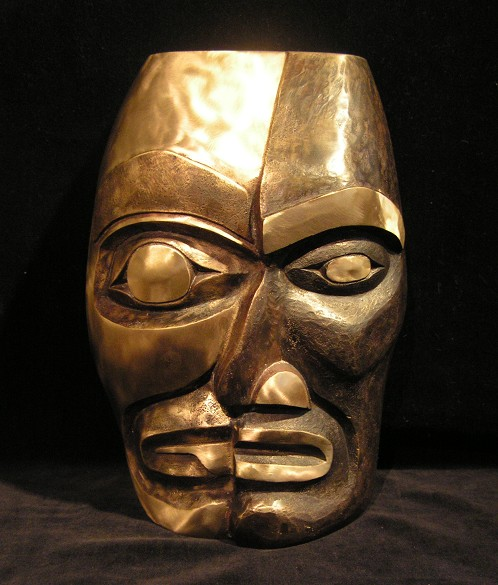"Self Portrait Split Personality Portrait Mask James Madison Tlingit-Tulalip Bronze 9"" x 7"" x 3"""